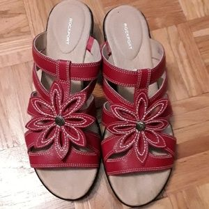 Rockport sandals red leather size 9.5